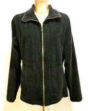 Woolrich Womans Large Black Wide Wale Corduroy Jacket Zip Cotton Slit Pockets