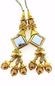 Gold Tassel Saree Blouse Indian Latkan Sewing Craft Fashion accessory 1 pair.