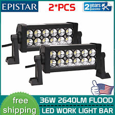 2X 8inch 36W LED Work Light Bar Flood Driving Offroad SUV ATV 4WD UTE Fog Lamp