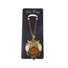 1Stk Vintage Bronze Messing Eule Geformt Magnetisch Medaillon Halskette Anhänger