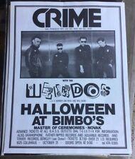 CRIME W/ Weirdos Halloween Show Poster Dils Punk Avengers OOP ORIGINAL