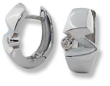 Huggies Style Z-Hoop Earrings 10k White Gold Diamonds