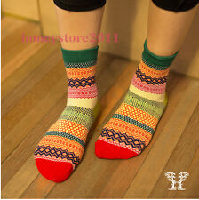 Fashion Stripe Cotton Socks Design Multi-Color Dress Socks Unisex  Men's Women's