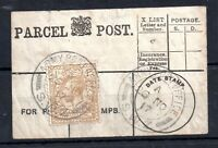 GB KGV 1917 1/- on Parcel Post Label Army Post Office SWZ PMK WWI WS12903