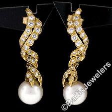 Elegant 18K Yellow Gold 0.75ctw Round Pave Diamond & Pearl Drop Dangle Earrings