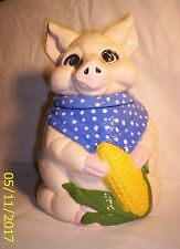 Pigs C170 9.2628  Ceramic Pig /Blue Scarf / Corn Cobb Cooky Jar