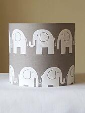 HANDMADE 20cm FABRIC DRUM LAMPSHADE NURSERY KIDS FUNKY MODERN ELEPHANT GREY