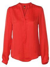Satin Patternless V Neck Tops & Shirts for Women