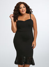 Torrid Polka Dot Mesh Bodycon Dress, Size 18, Brand New