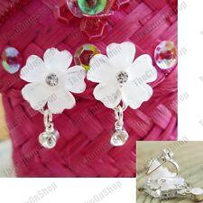 Clip En Crema Flores Blancas Cristal Pendientes de Plata Rhinestone Estilo Vintage