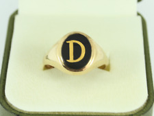 Onyx Signet Letter D Ring 9ct Gold Gent's Size T 1/4 375 3.6g Ep92