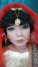 """World Gallery American Artist Collection 34"""" Porcelain doll Kavita used w/box"""