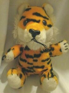 "Vintage 1980 Dakin 10"" Stuffed Plush Tiger Sitting Stuffed Animal Orange Black"