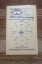 WBA V Sheffield United Reserves - Central League - 15/1/1966