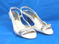 Michael Kors Woman Size 8.5 White Heels Slingback Sandals