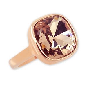 Damen-Ring Rosegold vergoldet mit Kristall von Swarovski® Gr. 58 NOBEL SCHMUCK