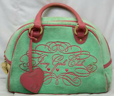 JUICY COUTURE GIRLS CLUB GREEN PINK TERRY CLOTH TOTE PURSE 10.5""