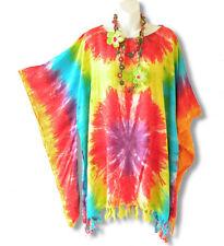 Kimono Plus Size Tie Dye Caftan Kaftan Tunic Blouse Poncho Top - XL, 1X, 2X & 3X