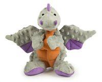 goDog Dragon With Chew Guard Technology Tough Plush Dog Toy Gray Large