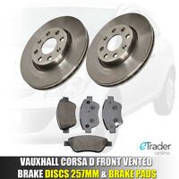 VAUXHALL CORSA D FRONT BRAKE DISCS AND & PADS 1.2 1.4 2006-2014 SET NEW 2 VENTED