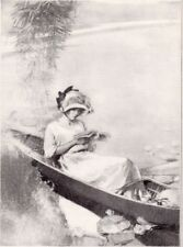 1912 Antique Fashion Print  September Lady Reading Canoe Harry Townsend art