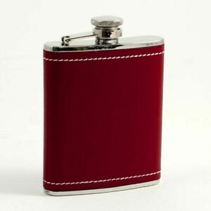 6 Oz. Stainless Steel Red Leather & White Stitch Flask
