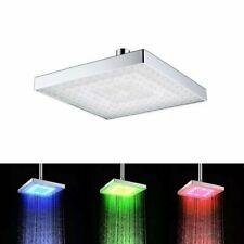 "6"" 3 Colors LED Square Rain Bathroom Temperature Sensor LED Shower Head"