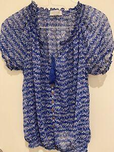 Women's Portmans Blue Pattern Tie Frt Top S12 Excellent condition, hardly worn
