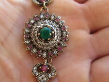 bracciale stile antico argento 925 rubini smeraldi zaffiri bianchi
