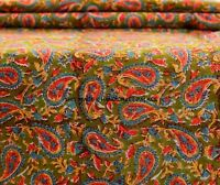 By Yard Indian Hand Block Print Fabric Cotton Running Green Floral Design Fabric