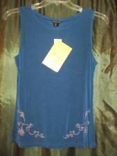 S CITIKNITS BLOUSE TEAL BLUE SOLID NICE DETAIL ACETATE CAREER