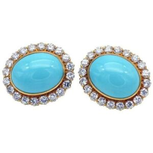 14k Yellow Gold over 925 Sterling Silver Turquoise Halo Style Fine Stud Earrings
