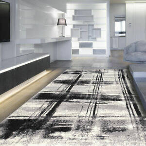 Rug Modern Design Small Extra Large Short Pile Checkered Pattern Grey Floor Rugs