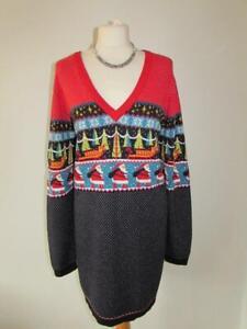 NEXT Ladies Navy Red Santa Fine Knit V Neck Christmas Jumper Dress Size 20 VGC