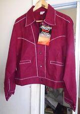 NOS 50s-60s SPIEGEL Red +White Zig Zag Stitch Metal Buttons ROCKABILLY Jacket 44