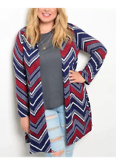 PLUS WOMEN CHEVRON SUPER SOFT HOODED CARDIGAN LONG SLEEVE JACKET XL