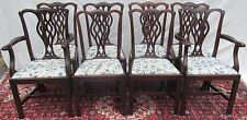 Set Of 8 Chippendale Style Antique Mahogany Dining Chairs ~ Chain Stitch Seats