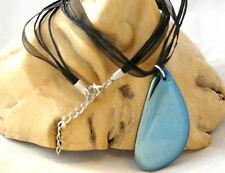Blue titanium agate gemstone pendant on black cord & organza clasp necklace.Gift