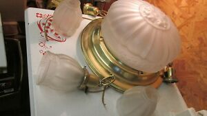 Antique Brass Chandelier Center Globe & 3 Drop Shades
