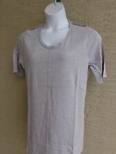 Being Casual Cotton Blend Jersey Top with Epaulettes & Scoop Neck L Heather