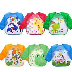 New Long Sleeve Kids Baby Bibs Bib Apron Waterproof Art Smock Feeding Toddler AU