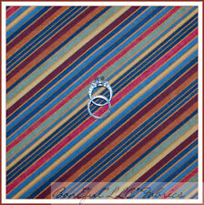 BonEful Fabric FQ Cotton Quilt Red Brown Orange Blue Green Fall Sm Stripe Calico