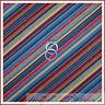 BonEful Fabric FQ Cotton Quilt VTG Red Brown Orange Blue Green Fall Small Stripe