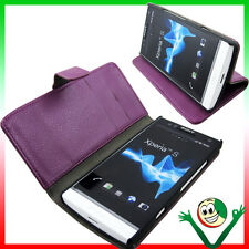 Custodia VIOLA pelle per Sony XPERIA S LT26i stand up BOOKLET libretto morbido