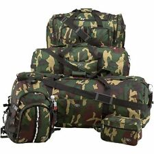 Army Camo 5 Piece Luggage Set, Carry-On Duffle Overnight Men Outdoor Camp Bag