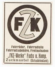 Ruck Cappotto, Pubblicità visualizzazione/1929, FKZ-Werke Volpe U. COMP. biciclette-Teile-Zub