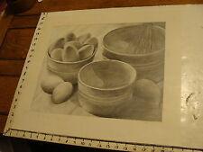 JAN STEELE, drawing: pencil: STILL LIFE: EGGS, BOWLS, MIXER