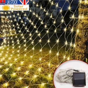 Solar Powered LED Mesh Net Curtain String Fairy Lights Home Party Garden Outdoor