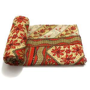 Vintage Kantha Quilt Indian Handmade Cotton Bedspread Stylish Throw Bedding