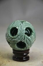 56MM SPLENDIFEROUS CHINESE JADE HAND-CARVED 3 LAYERS PUZZLE BALL ,WITH BASE !